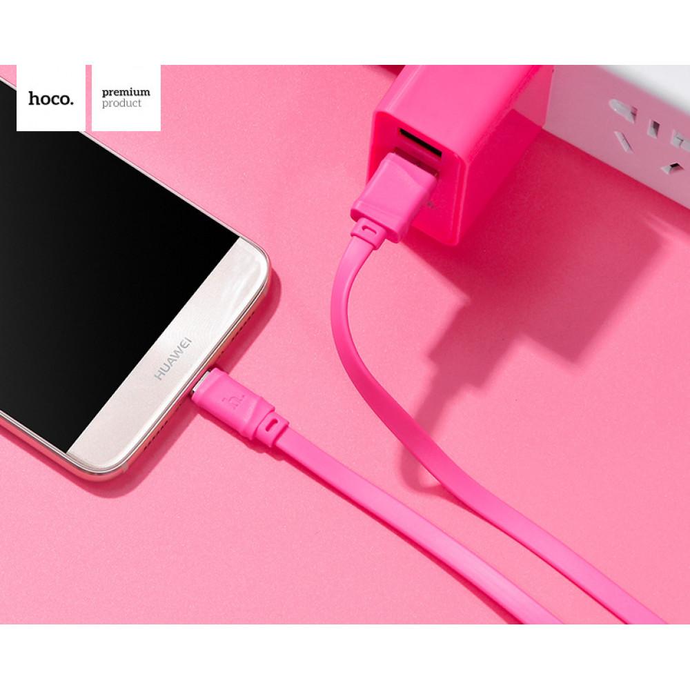 Кабель USB - Lightning hoco. X5 Bamboo 1M, розовый