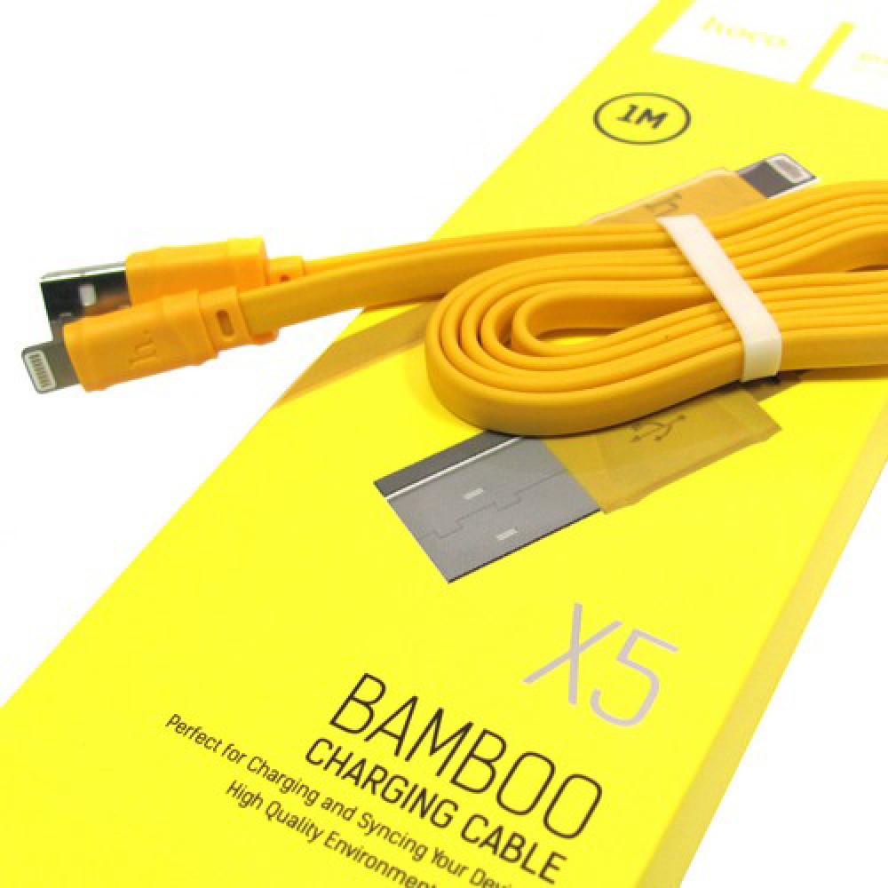 Кабель USB - Lightning hoco. X5 Bamboo 1M, желтый