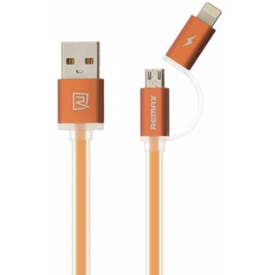 Кабель USB - Lightning + Micro USB 2в1 Remax Aurora RC-020t, оранжевый