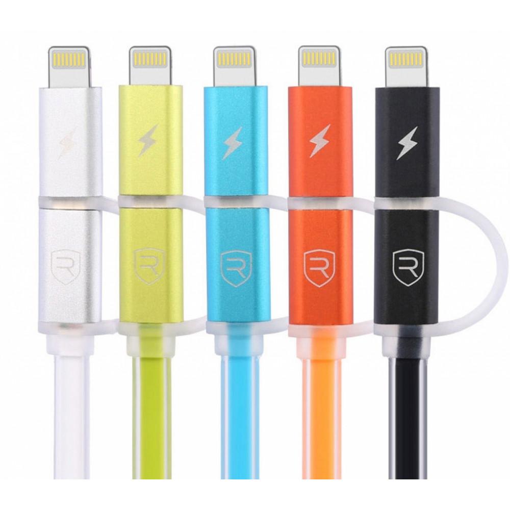 Кабель USB - Lightning + Micro USB 2в1 Remax Aurora RC-020t, серебряный