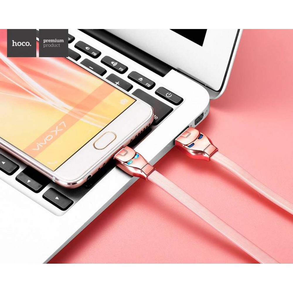 Кабель USB - Micro USB hoco. U14 Steel, розовый