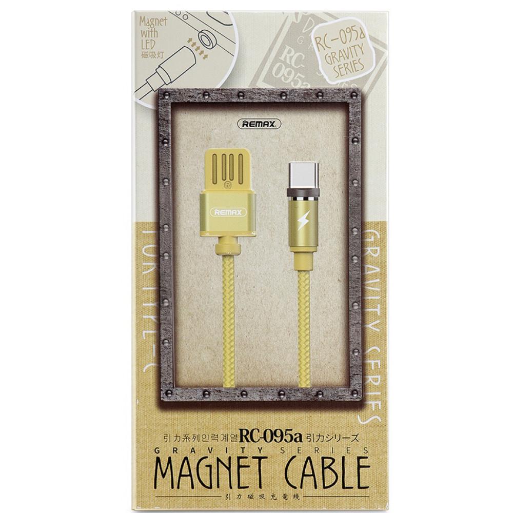 Кабель USB - TYPE-C магнитный Remax Gravity Series RC-095a, золотой
