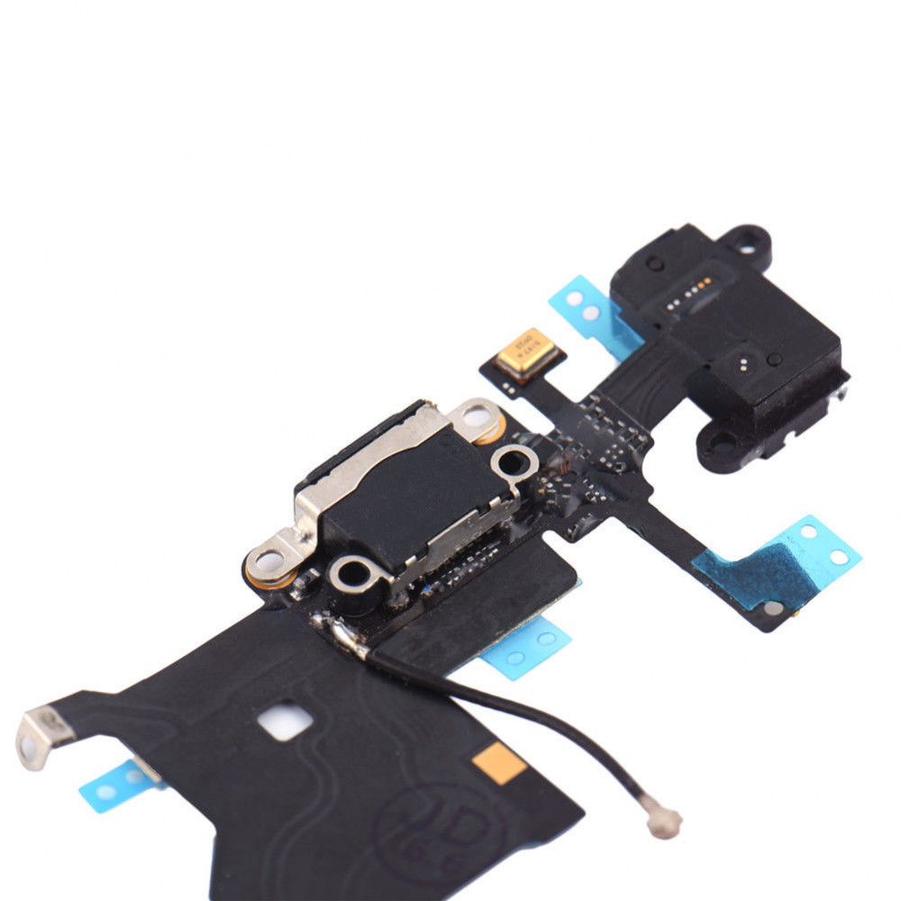 Шлейф для iPhone 5 с разъемом зарядки, аудио выходом и микрофоном, черный
