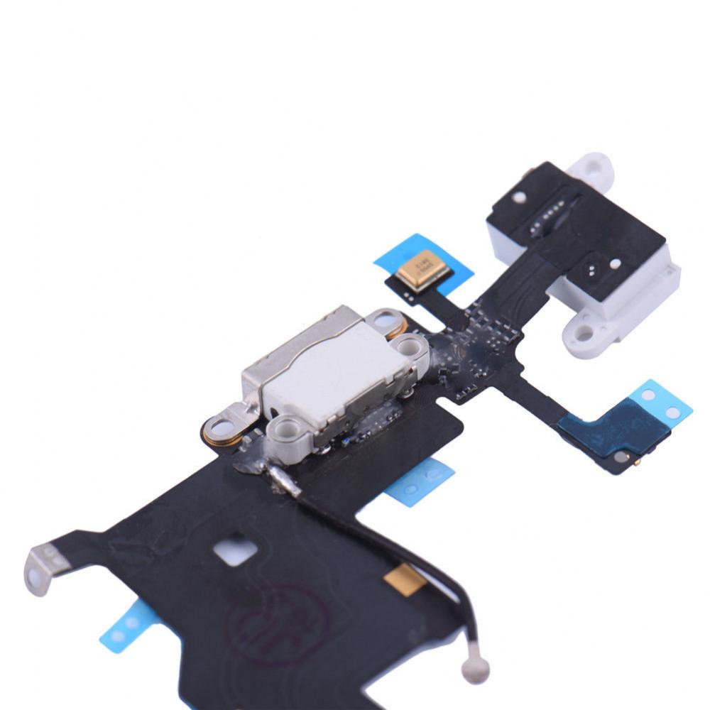Шлейф для iPhone 5 с разъемом зарядки, аудио выходом и микрофоном, белый