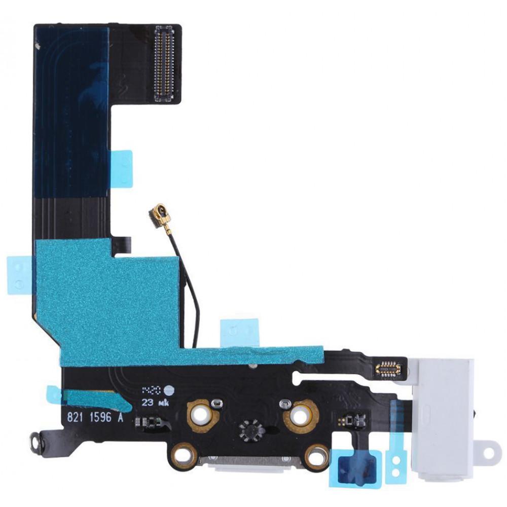 Шлейф для iPhone 5S с разъемом зарядки, аудио выходом и микрофоном, белый