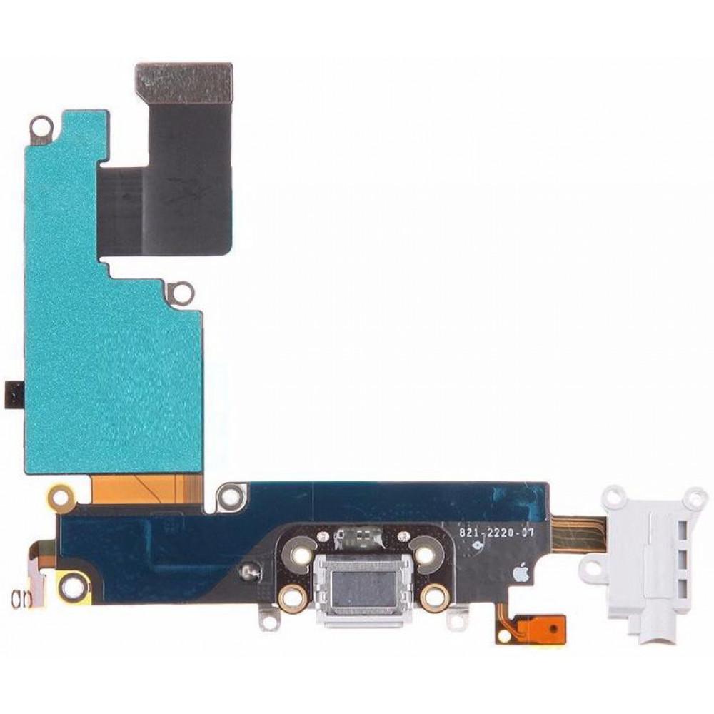 Шлейф для iPhone 6 Plus с разъемом зарядки, аудио выходом и микрофоном, белый