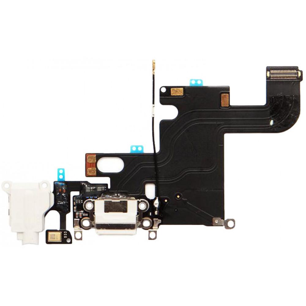 Шлейф для iPhone 6 с разъемом зарядки, аудио выходом и микрофоном, белый