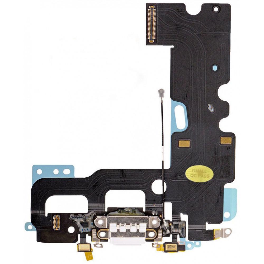 Шлейф для iPhone 7 с разъемом зарядки, аудио выходом и микрофоном, белый