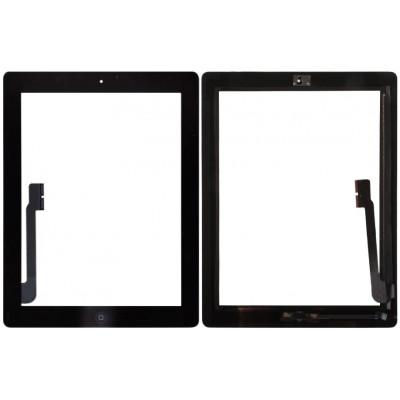 Сенсорное стекло (тачскрин) для iPad 3/ 4 в сборе с кнопкой Home + 3M скотч, черное