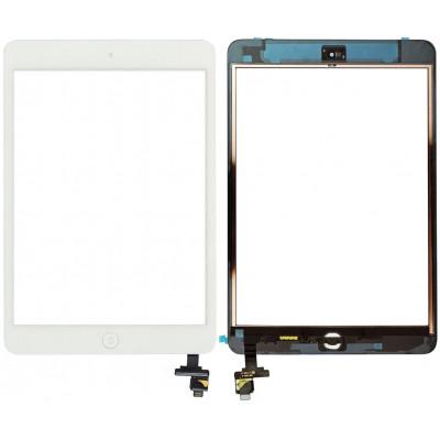 Сенсорное стекло (тачскрин) для iPad Mini / iPad Mini 2 с кнопкой Home и контроллером White