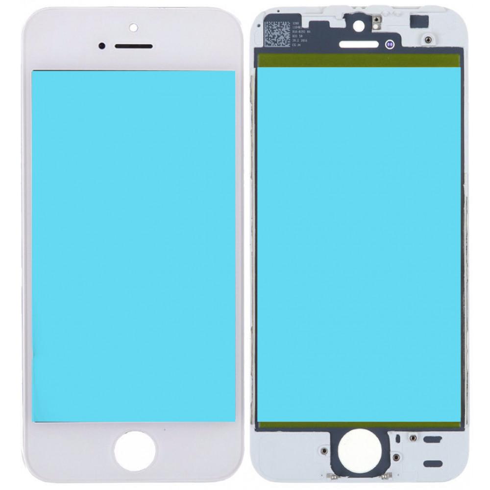 Стекло дисплея с OCA плёнкой и рамкой для iPhone 5S, белое