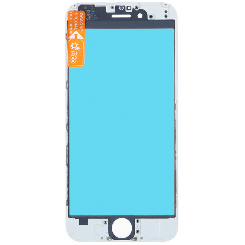 Стекло дисплея с OKA плёнкой и рамкой для iPhone 6, белое