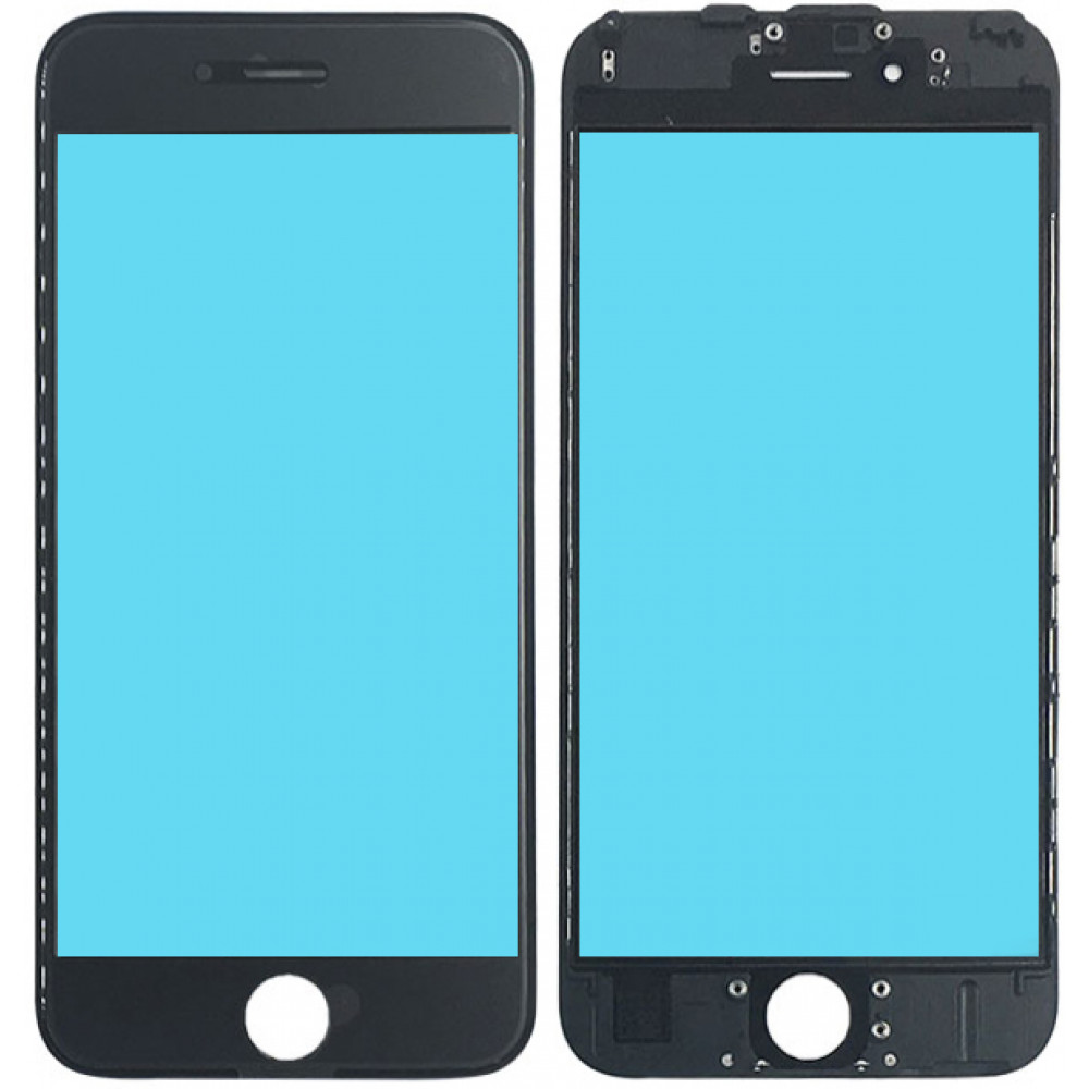 Стекло дисплея с OKA плёнкой и рамкой для iPhone 6S, черное