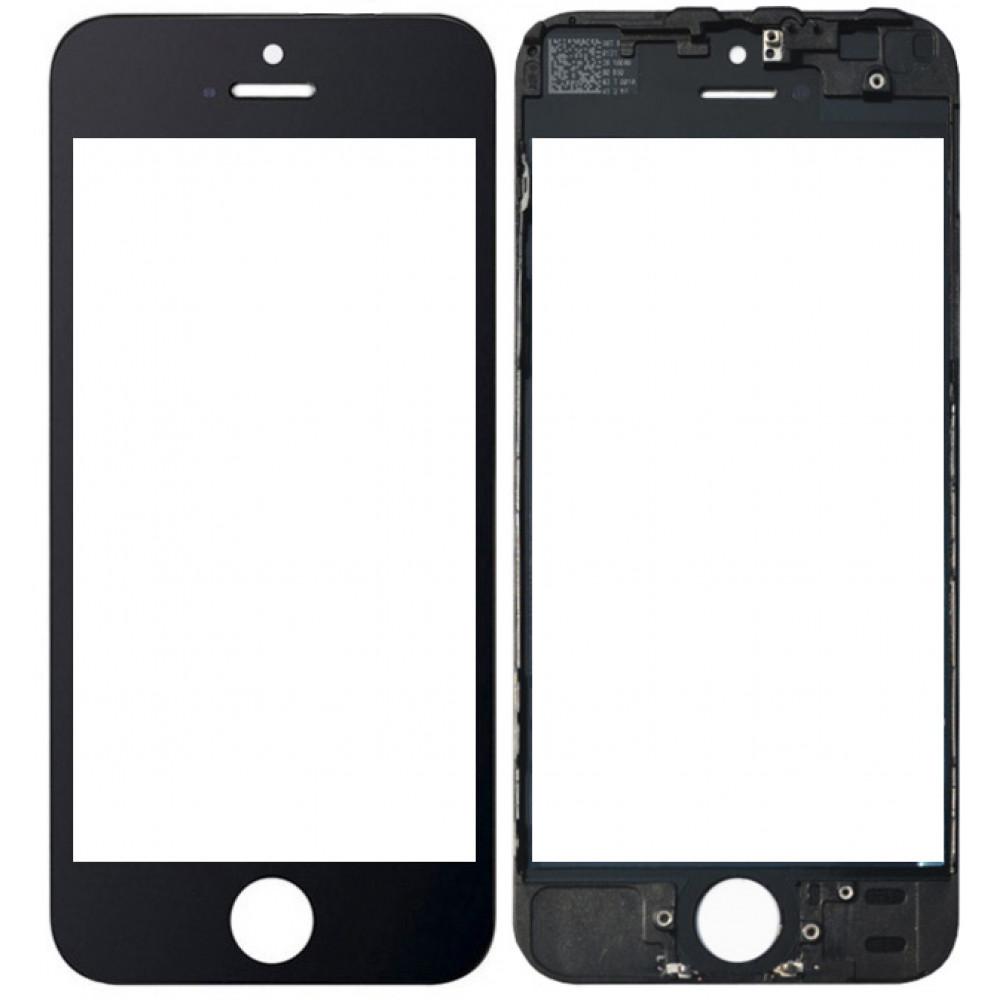 Стекло дисплея с рамкой для iPhone 5S черное