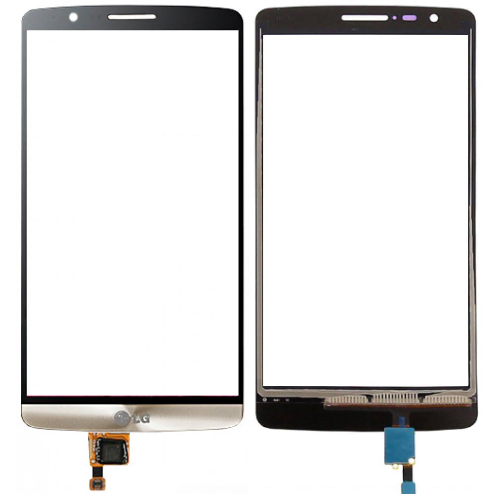Сенсорное стекло (тачскрин) для LG G3, золотое