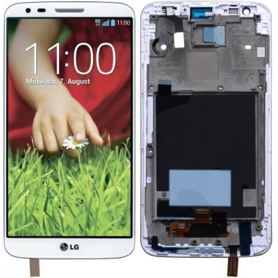 Дисплей для LG G2 (D802) в сборе с тачскрином и рамкой, белый