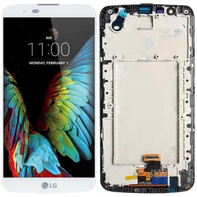 Дисплей для LG K10 (2017) в сборе с тачскрином и рамкой, белый
