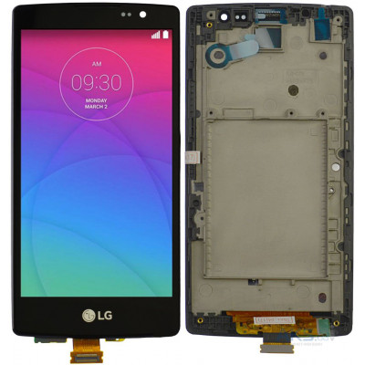 Дисплей для LG Spirit (H422) в сборе с тачскрином и рамкой, черный