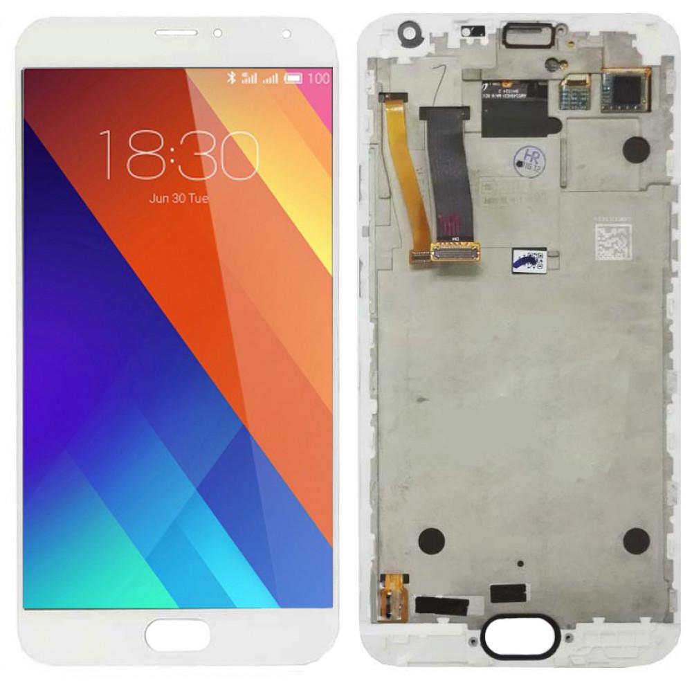 Дисплей для Meizu MX5 в сборе с тачскрином и рамкой, белый