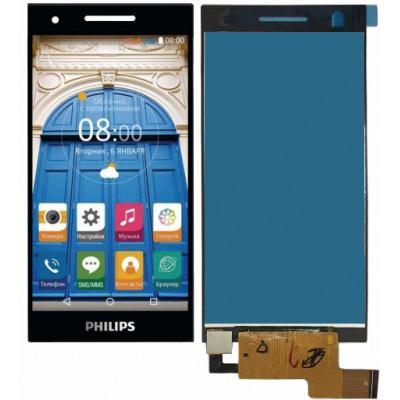 Дисплей для Philips Xenium S396 в сборе с тачскрином, черный