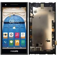 Дисплей для Philips Xenium S396 в сборе с тачскрином и рамкой, черный