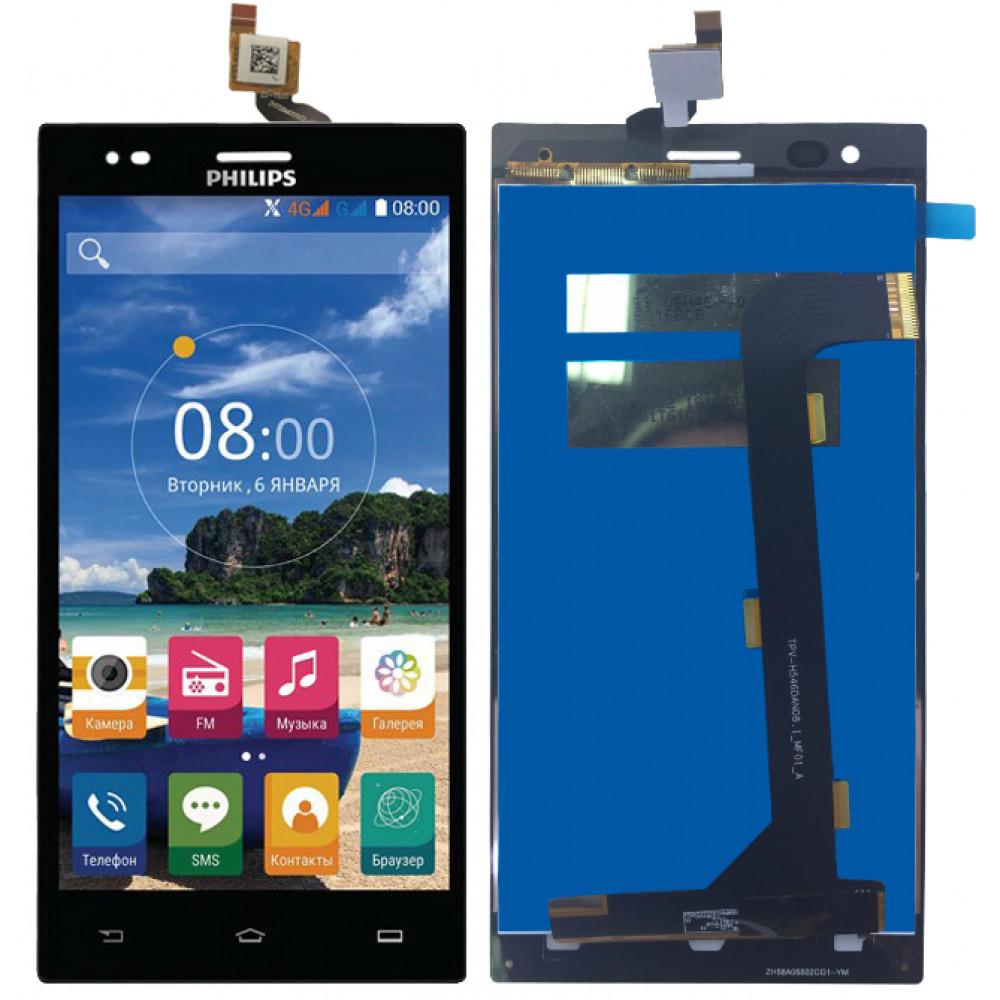 Дисплей для Philips Xenium S616 в сборе с тачскрином, черный