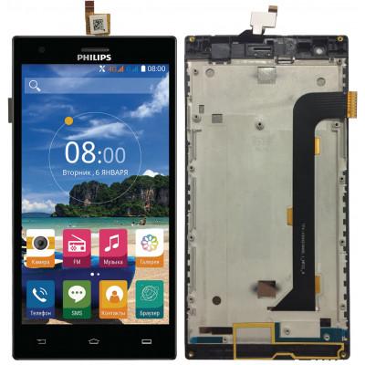 Дисплей для Philips Xenium S616 в сборе с тачскрином и рамкой, черный