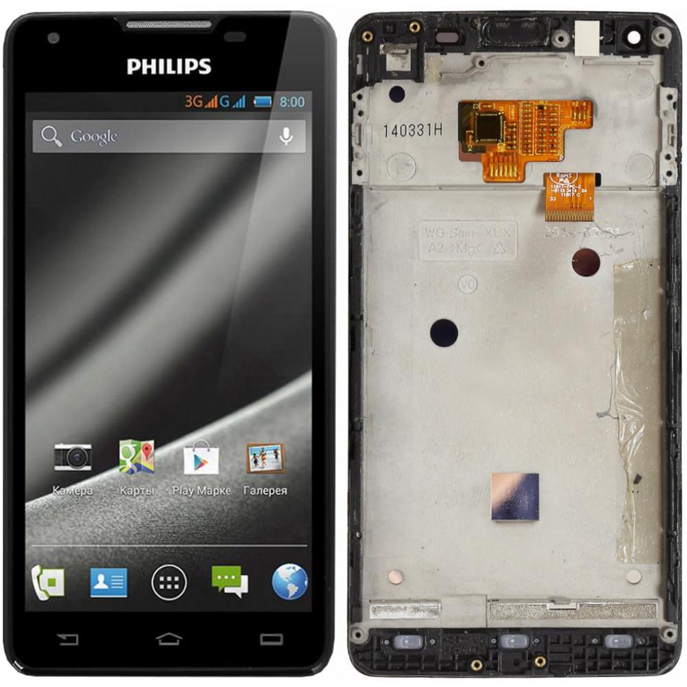 Дисплей для Philips Xenium W6610 в сборе с тачскрином и рамкой, черный