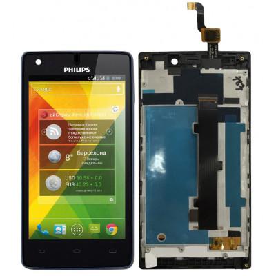 Дисплей для Philips Xenium W737 в сборе с тачскрином и рамкой, черный