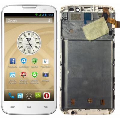 Дисплей для Prestigio PAP5503 DUO в сборе с тачскрином и рамкой, белый