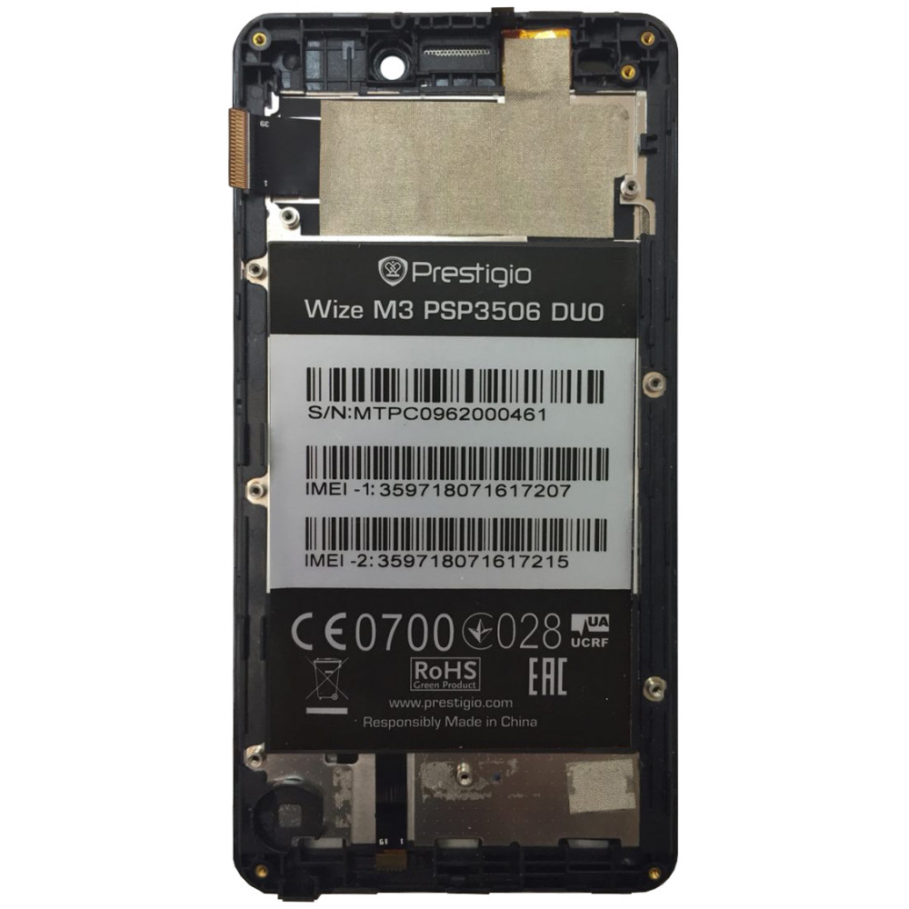 Дисплей для Prestigio Wize M3 PSP3506 DUO в сборе с тачскрином и рамкой, черный
