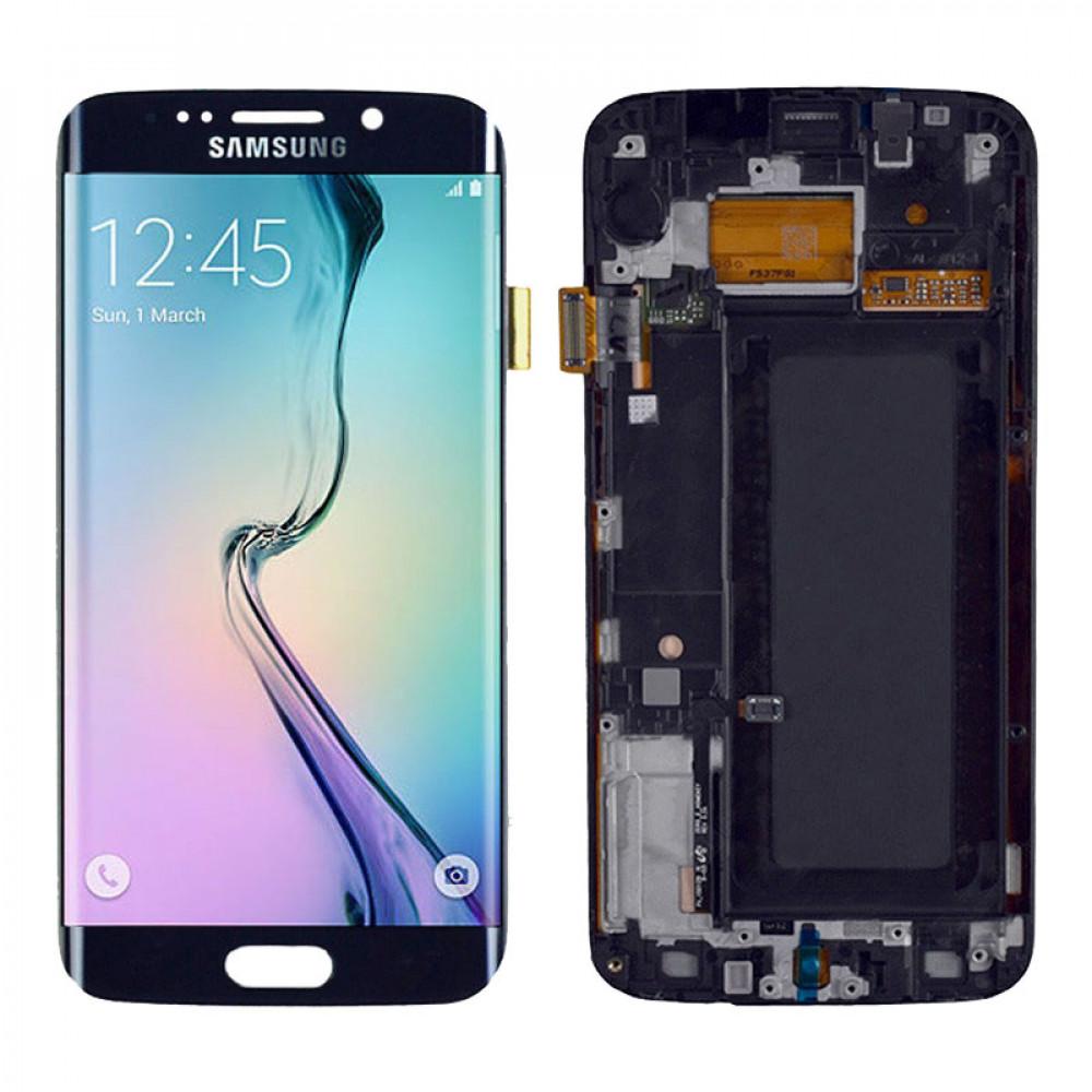 Дисплей для Samsung Galaxy S6 EDGE (G925F) в сборе с тачскрином и рамкой, черный