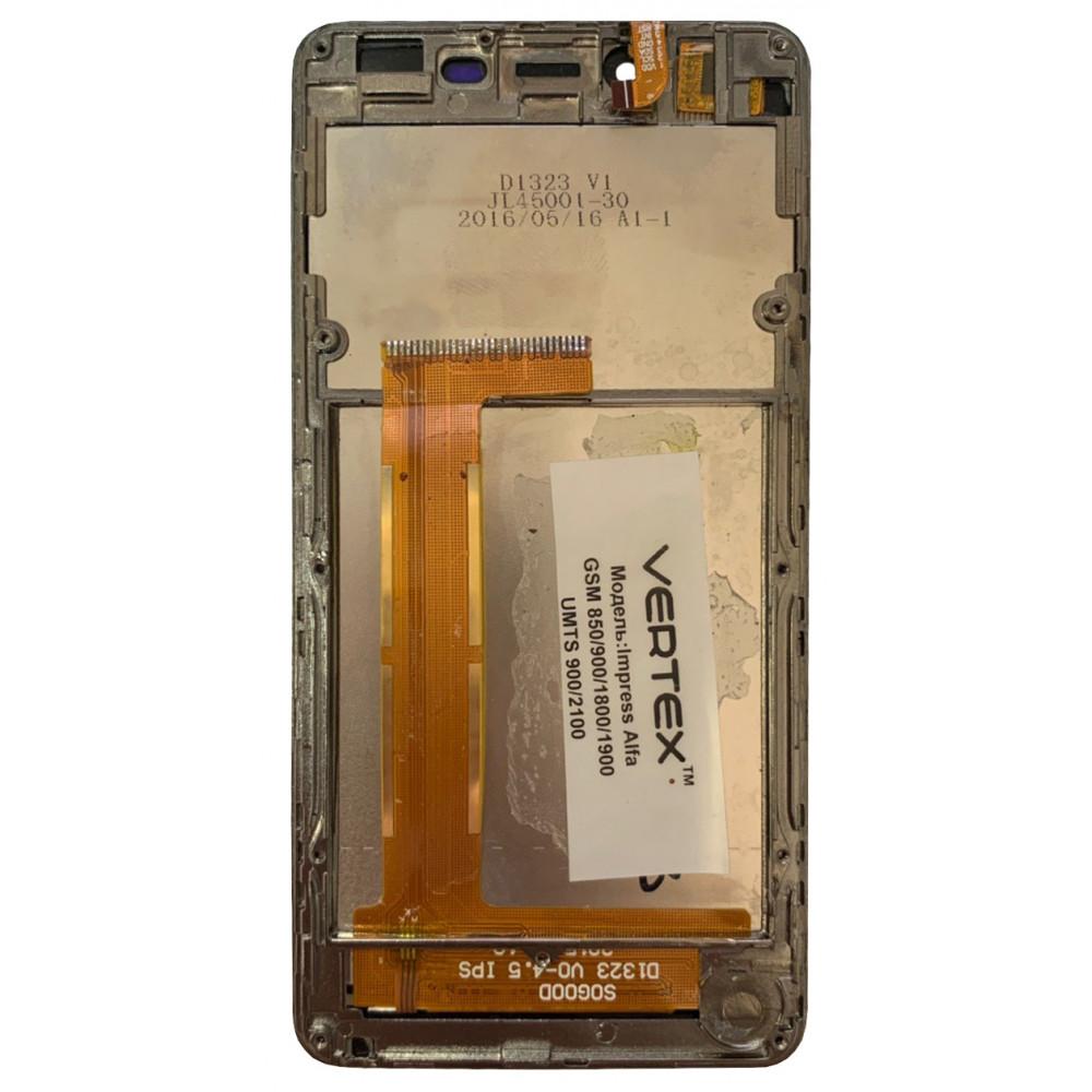 Дисплей для Vertex Impress Alfa в сборе с тачскрином и рамкой, черный