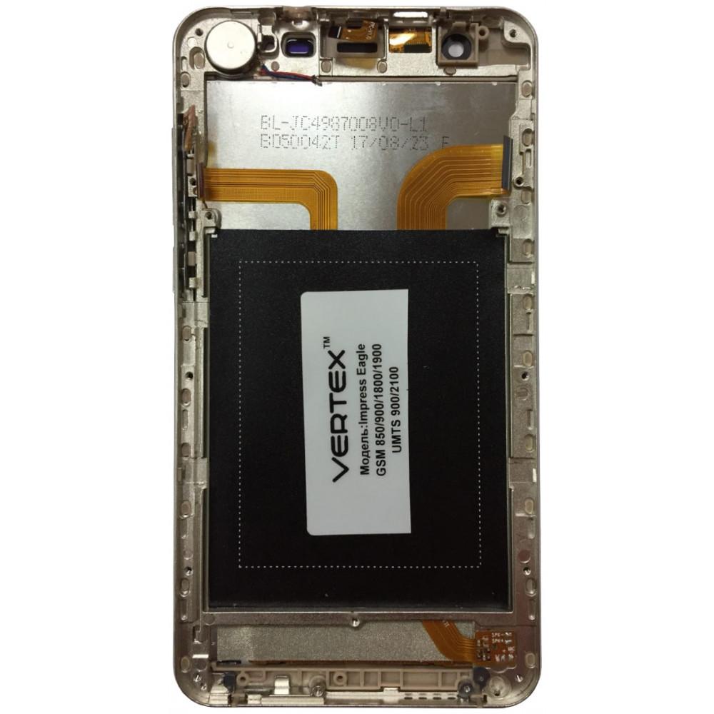 Дисплей для Vertex Impress Eagle в сборе с тачскрином и рамкой, золотой
